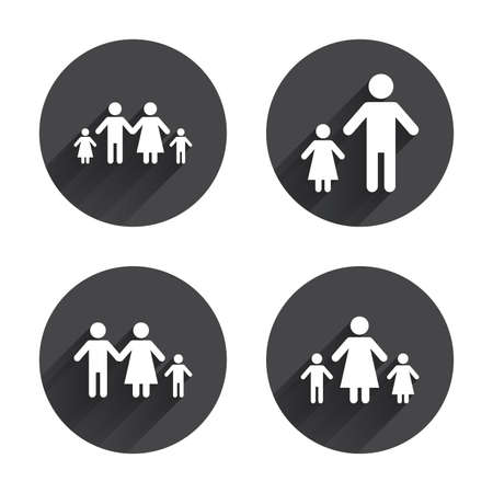 family with two children: Family with two children icon. Parents and kids symbols. One-parent family signs. Mother and father divorce. Circles buttons with long flat shadow. Vector Illustration