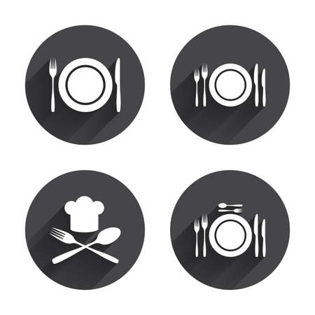 tokens: Plate dish with forks and knifes icons. Chief hat sign. Crosswise cutlery symbol. Dining etiquette. Circles buttons with long flat shadow. Vector