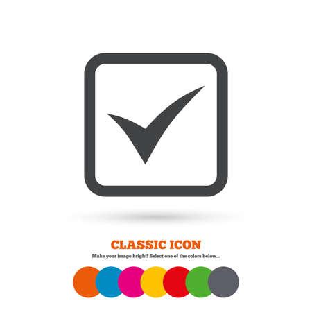 チェック マーク記号のアイコン。はい正方形のシンボル。確認承認します。古典的なフラット アイコン。色のついた丸。ベクトル