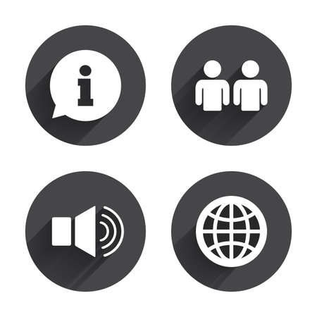 shadow people: Information sign. Group of people and speaker volume symbols. Internet globe sign. Communication icons. Circles buttons with long flat shadow. Vector