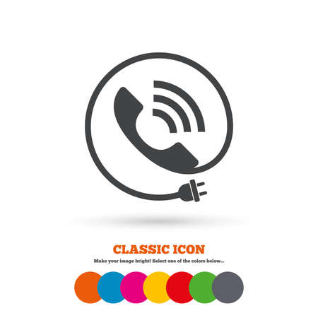 support center: Phone sign icon. Call support center symbol. Communication technology with electric plug. Classic flat icon. Colored circles. Vector