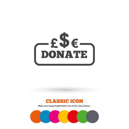 Donate sign icon. Multicurrency symbol. Classic flat icon. Colored circles. Vector
