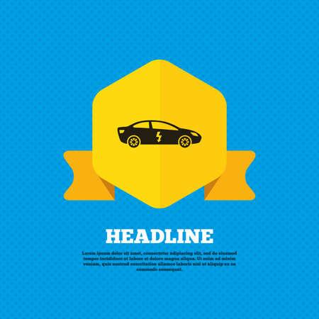 electric vehicle: Auto elettrica icona segno. Sedan simbolo berlina. Trasporto del veicolo elettrico. Tag etichetta gialla. Circoli senza soluzione di modello sul retro. Vettore