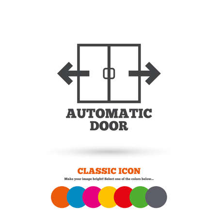 door sign: Automatic door sign icon. Auto open symbol. Classic flat icon. Colored circles. Vector Illustration