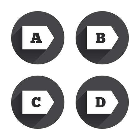 consumo energia: Classe di efficienza energetica icone. Energia simboli consumo segno. Di classe A, B, C e D. Circles pulsanti con lunga ombra piatta. Vettore