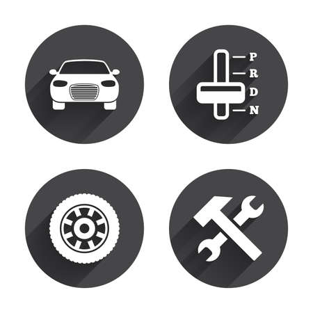 automatic transmission: Transport icons. Car tachometer and automatic transmission symbols. Repair service tool with wheel sign. Circles buttons with long flat shadow. Vector