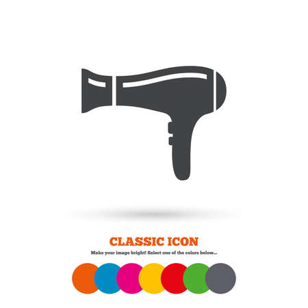 blow drying: Hairdryer sign icon. Hair drying symbol. Classic flat icon. Colored circles. Vector