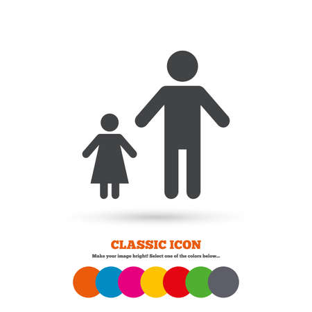 one child: One-parent family with one child sign icon. Father with daughter symbol. Classic flat icon. Colored circles. Vector
