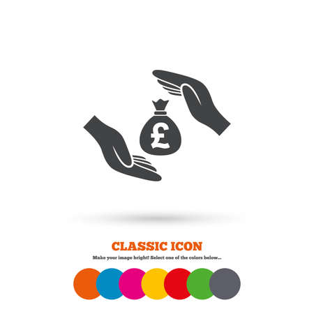 Protection Money Bag Sign Icon Hands Protect Cash In Pounds