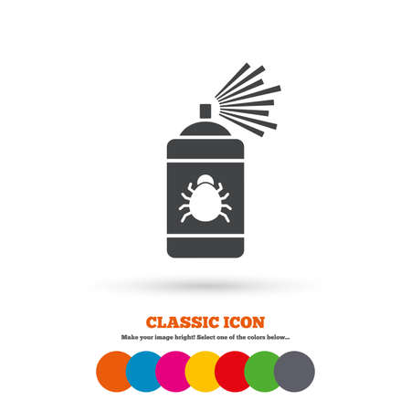 fumigation: Bug disinfection sign icon. Fumigation symbol. Bug sprayer. Classic flat icon. Colored circles. Vector