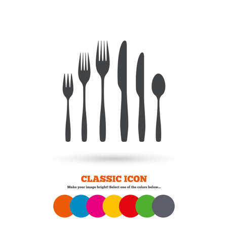 dessert fork: Dessert fork, knife, teaspoon sign icon. Cutlery collection set symbol. Classic flat icon. Colored circles. Vector