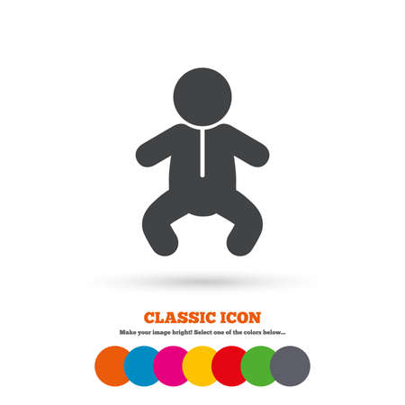 crawlers: Baby infant sign icon. Toddler boy in pajamas or crawlers body symbol. Child WC toilet. Classic flat icon. Colored circles. Vector Illustration