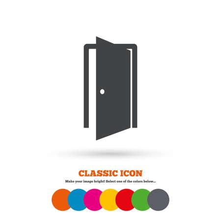 door sign: Door sign icon. Enter or exit symbol. Internal door. Classic flat icon. Colored circles. Vector Illustration
