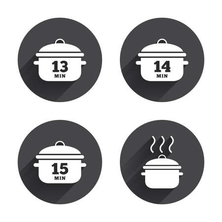 soup: Cooking pan icons. Boil 13, 14 and 15 minutes signs. Stew food symbol. Circles buttons with long flat shadow. Vector
