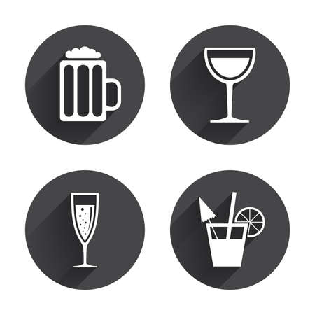 alcoholic drinks: Alcoholic drinks icons. Champagne sparkling wine with bubbles and beer symbols. Wine glass and cocktail signs. Circles buttons with long flat shadow. Vector