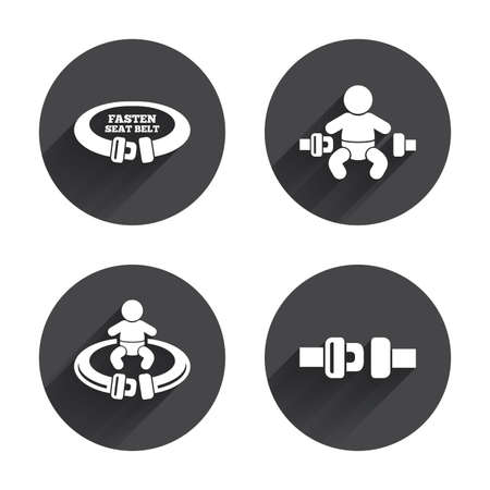 fasten: Fasten seat belt icons. Child safety in accident symbols. Vehicle safety belt signs. Circles buttons with long flat shadow. Vector