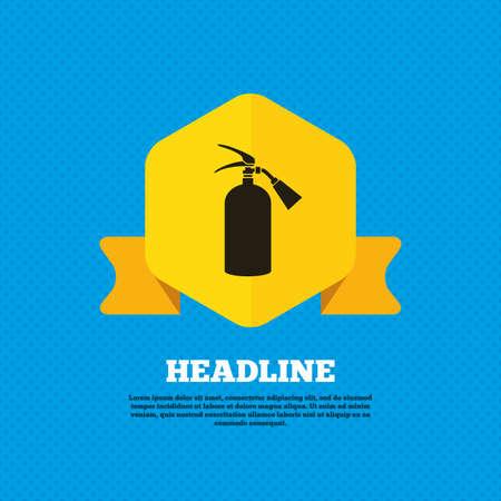 fire extinguisher sign: Extintor signo icono. S�mbolo de seguridad contra incendios. Etiqueta de la etiqueta del amarillo. C�rculos patr�n transparente en la parte posterior. Vector
