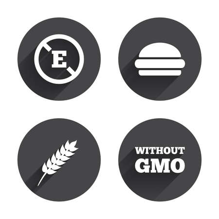 stabilizers: Icono de aditivo alimentario. Hamburguesa signo de comida r�pida. Gluten s�mbolos libres y Sin OGM. Sin estabilizadores de �cido E. C�rculos botones con larga sombra plana. Vector