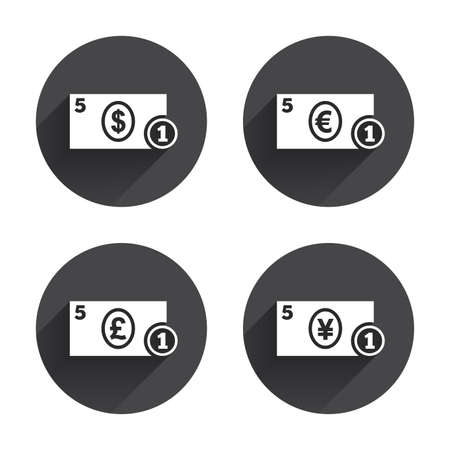 withdrawals: Businessman case icons. Dollar, yen, euro and pound currency sign symbols. Circles buttons with long flat shadow. Vector