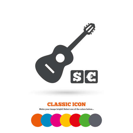 Acoustic guitar sign icon. Paid music symbol. Classic flat icon. Colored circles. Vector Illustration