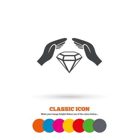 brilliants: Jewelry insurance sign icon. Hands protect cover diamonds symbol. Brilliants insurance. Classic flat icon. Colored circles. Vector Illustration