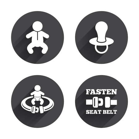 to fasten: Baby infants icons. Toddler boy with diapers symbol. Fasten seat belt signs. Child pacifier and pram stroller. Circles buttons with long flat shadow. Vector Illustration