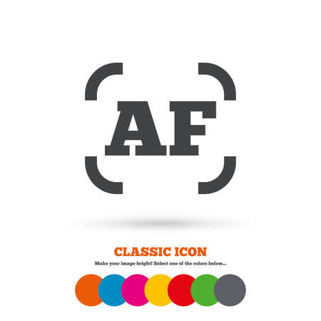 autofocus: Autofocus photo camera sign icon. AF Settings symbol. Classic flat icon. Colored circles. Vector