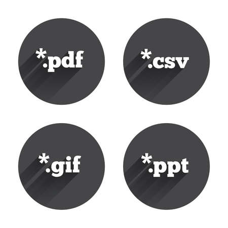 Document icons. File extensions symbols. PDF, GIF, CSV and PPT presentation signs. Circles buttons with long flat shadow. Vector