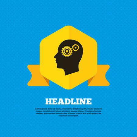 head tag: Head with gears sign icon. Male human head symbol. Yellow label tag. Circles seamless pattern on back. Vector