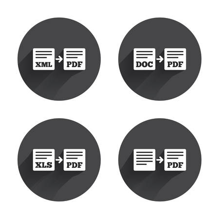 convert: Export file icons. Convert DOC to PDF, XML to PDF symbols. XLS to PDF with arrow sign. Circles buttons with long flat shadow. Vector
