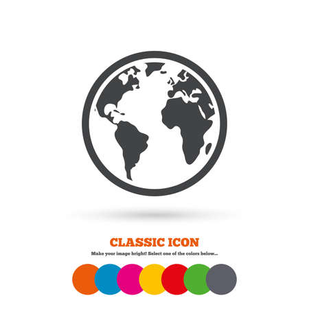 Globe sign icon world map geography symbol classic flat icon globe sign icon world map geography symbol classic flat icon colored circles gumiabroncs Gallery