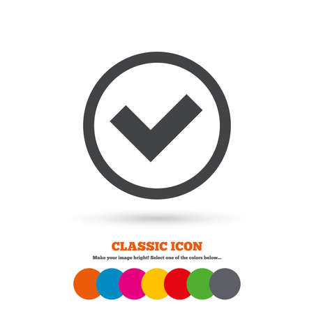 check icon: Check mark sign icon. Yes circle symbol. Confirm approved. Classic flat icon. Colored circles. Vector Illustration