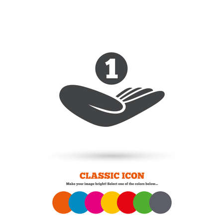 endowment: Donation hand sign icon. Hand holds coin. Charity or endowment symbol. Human helping hand palm. Classic flat icon. Colored circles. Vector
