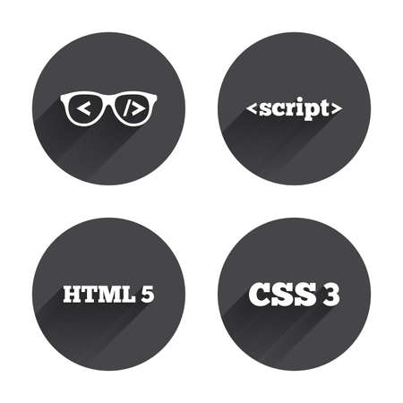 css3: Programmer coder glasses icon. HTML5 markup language and CSS3 cascading style sheets sign symbols. Circles buttons with long flat shadow. Vector