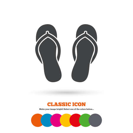 flipflops: Flip-flops sign icon. Beach shoes. Sand sandals. Classic flat icon. Colored circles. Vector