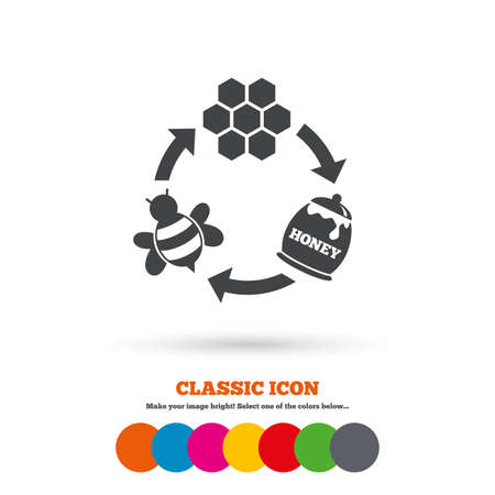 beeswax: Producing honey and beeswax sign icon. Honeycomb cells symbol. Honey in pot. Sweet natural food cycle in nature. Classic flat icon. Colored circles. Vector