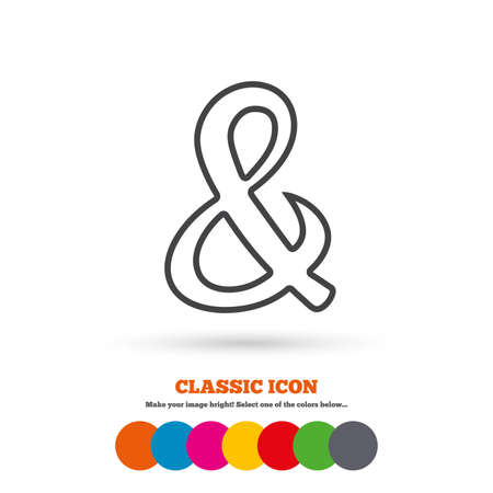 logical: Ampersand sign icon. Programming logical operator AND. Wedding invitation symbol. Classic flat icon. Colored circles. Vector Illustration