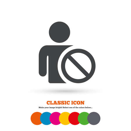 blacklist: Blacklist sign icon. User not allowed symbol. Classic flat icon. Colored circles. Vector