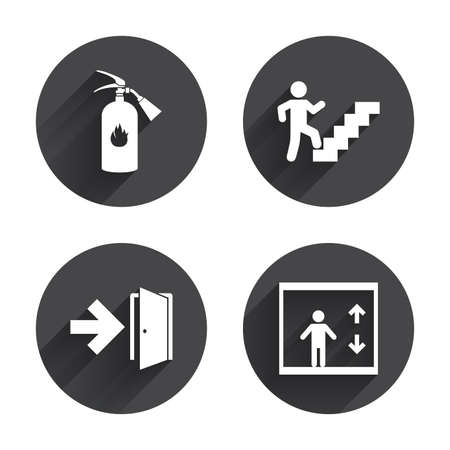 Emergency exit icons. Fire extinguisher sign. Elevator or lift symbol. Fire exit through the stairwell. Circles buttons with long flat shadow. Vector