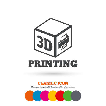 additive: 3D Print sign icon. 3d cube Printing symbol. Additive manufacturing. Classic flat icon. Colored circles. Vector Illustration