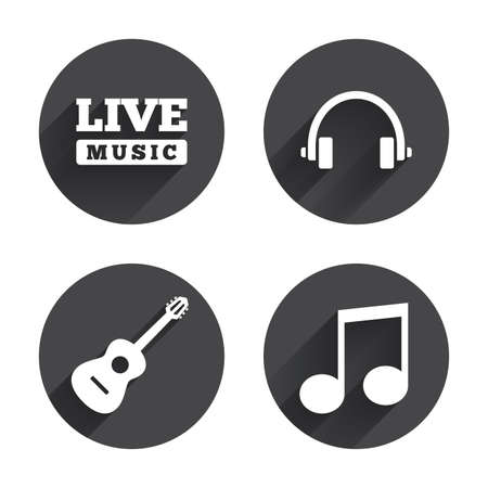long live: Musical elements icons. Musical note key and Live music symbols. Headphones and acoustic guitar signs. Circles buttons with long flat shadow. Vector Illustration