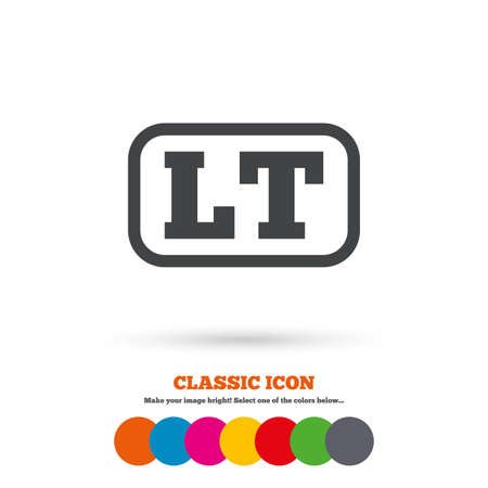 lt: Lithuanian language sign icon. LT translation symbol with frame. Classic flat icon. Colored circles. Vector