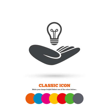intellectual property: Idea patent insurance sign. Hand holds lamp bulb symbol. Intellectual Property. Classic flat icon. Colored circles. Vector Illustration