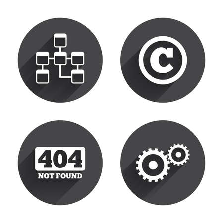 page long: Website database icon. Copyrights and gear signs. 404 page not found symbol. Under construction. Circles buttons with long flat shadow. Vector