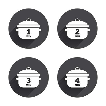 stew: Cooking pan icons. Boil 1, 2, 3 and 4 minutes signs. Stew food symbol. Circles buttons with long flat shadow. Vector