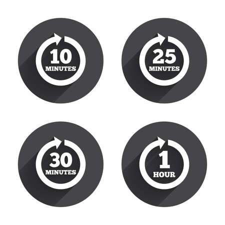 iterative: Every 10, 25, 30 minutes and 1 hour icons. Full rotation arrow symbols. Iterative process signs. Circles buttons with long flat shadow. Vector Illustration