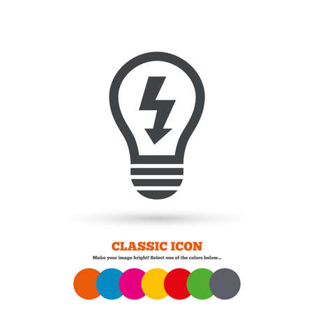 idea symbol: Light lamp sign icon. Bulb with lightning symbol. Idea symbol. Classic flat icon. Colored circles. Vector