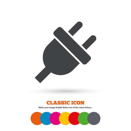 unplugged: El�ctrico icono de signo enchufe. S�mbolo de la energ�a de alimentaci�n. Icono plana Classic. C�rculos coloreados. Vector