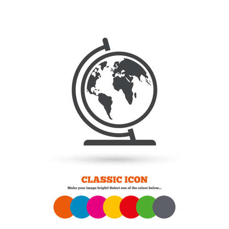 Globe sign icon world map geography symbol classic flat icon globe sign icon world map geography symbol globe on stand for studying classic gumiabroncs Image collections