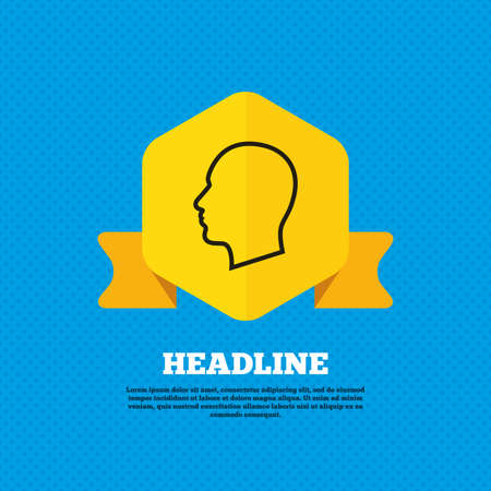 head tag: Head sign icon. Male human head symbol. Yellow label tag. Circles seamless pattern on back. Vector